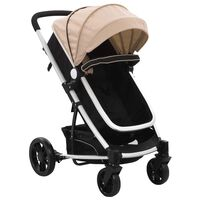 10154 vidaXL 2-in-1 Baby Stroller/Pram Taupe and Black Aluminium