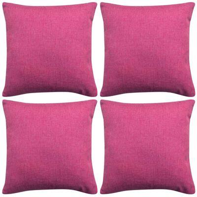vidaXL Cushion Covers 4 pcs Linen-look Pink 40x40 cm