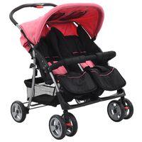 10155 vidaXL Baby Twin Stroller Pink and Black Steel