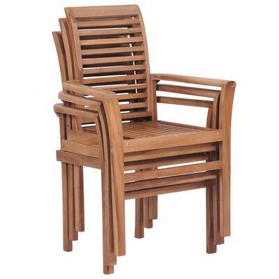 vidaXL Stacking Dining Chairs 4 pcs Solid Teak