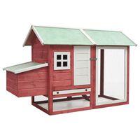 vidaXL Chicken Cage Red 170x81x110 cm Solid Pine & Fir Wood