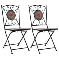 vidaXL Mosaic Bistro Chairs 2 pcs Orange/Grey