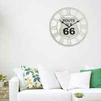 Walplus White Route 66 Iron Wall Clock (60cm Diameter)