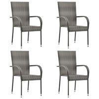 vidaXL Stackable Outdoor Chairs 4 pcs Grey Poly Rattan