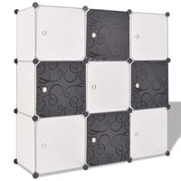 vidaXL Storage Cube Organiser with 9 Compartments Black and White