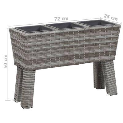 vidaXL Garden Raised Bed with Legs and 3 Pots 72x25x50 cm Poly Rattan Grey