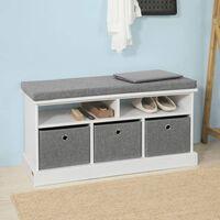 Sobuy Hallway 3 Baskets Shoe Storage Bench Seat Stool With Cushion Fsr67-hg