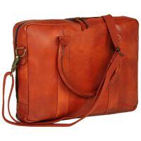 vidaXL Zippered Laptop Bag Real Leather Tan