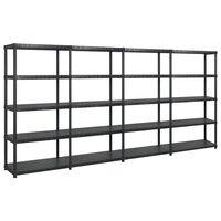 vidaXL Storage Shelf 5-Tier Black 366x45.7x185 cm Plastic