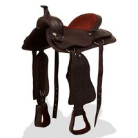 """vidaXL Western Saddle, Headstall&Breast Collar Real Leather 15"""" Brown"""