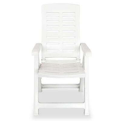 vidaXL Reclining Garden Chairs 6 pcs Plastic White