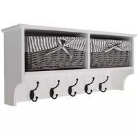 Wall Storage Shelf with 2 Baskets and 6 Coat Hooks - White / Grey