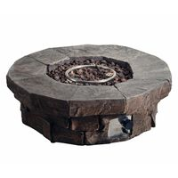 Peaktop Round Stone Effect Gas Fire Pit with Easy Safe Ignition Featur