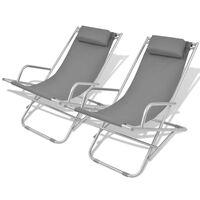 vidaXL Reclining Deck Chairs 2 pcs Steel Grey