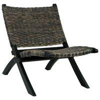 vidaXL Relaxing Chair Black Natural Kubu Rattan and Solid Mahogany Wood