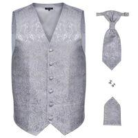 Men's Paisley Wedding Waistcoat Set Size 52 Silver