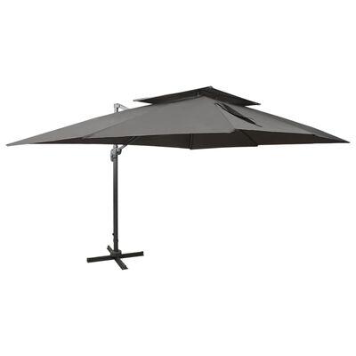 vidaXL Cantilever Umbrella with Double Top Anthracite 400x300 cm