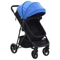 10160 vidaXL 2-in-1 Baby Stroller/Pram Blue and Black Steel