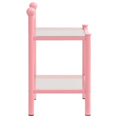 vidaXL Bedside Cabinets 2 pcs Pink and Transparent Metal and Glass