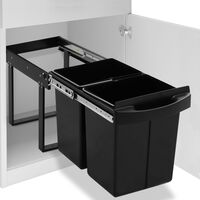 vidaXL Kitchen Cupboard Pull-out Recycled Dustbin Soft-Close 48 L