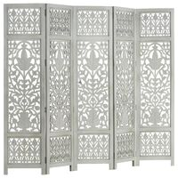 vidaXL Hand Carved 5-Panel Room Divider Grey 200x165 cm Solid Mango Wood