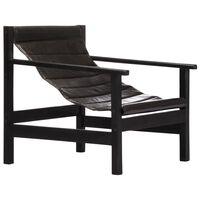 vidaXL Relaxing Armchair Black Real Leather