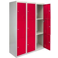 Monster Racking Metal Storage Lockers Flatpack, 3 x 3 Doors - Red