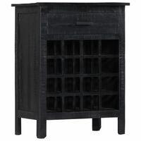 vidaXL Wine Rack Black 56x35x75 cm Solid Mango Wood