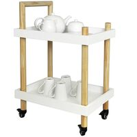 Wood Two Tier Trolley - White / Natural
