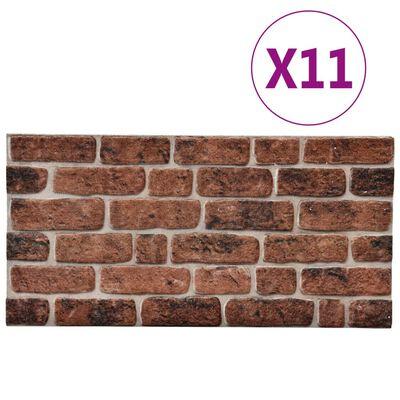 vidaXL 3D Wall Panels with Dark Brown Brick Design 11 pcs EPS