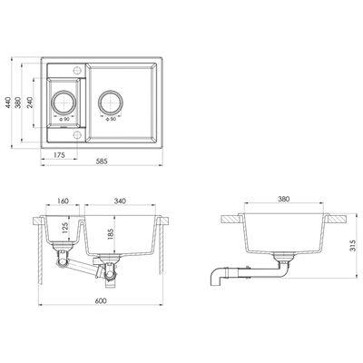vidaXL Kitchen Sink with Overflow Hole Double Basins Grey Granite