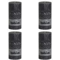 Bolsius Rustic Pillar Candle 200x100 mm Anthracite 4 pcs