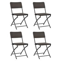 vidaXL Folding Garden Chairs 4 pcs HDPE and Steel Brown