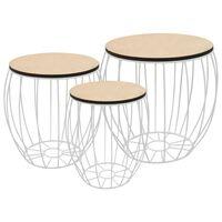 vidaXL Coffee Table Set 3 Pieces Poplar Plywood Iron