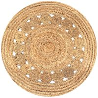vidaXL Area Rug Braided Design Jute 90 cm Round