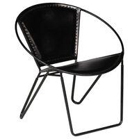 vidaXL Chair Black Real Leather