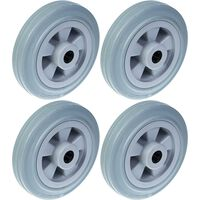 """160mm 6"""" wheel grey rubber tyre with plastic centre 540kg capacity,"""