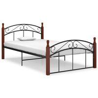 vidaXL Bed Frame Black Metal and Solid Oak Wood 120x200 cm
