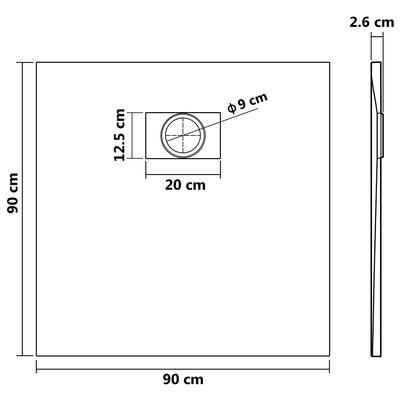 vidaXL Shower Base Tray SMC Black 90x90 cm