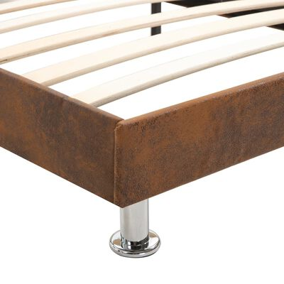 vidaXL Bed Frame Brown Faux Suede Leather 135x190 cm