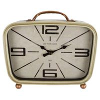 Gifts Amsterdam Desk Clock Retro Metal Brass and Cream 22x8x19cm