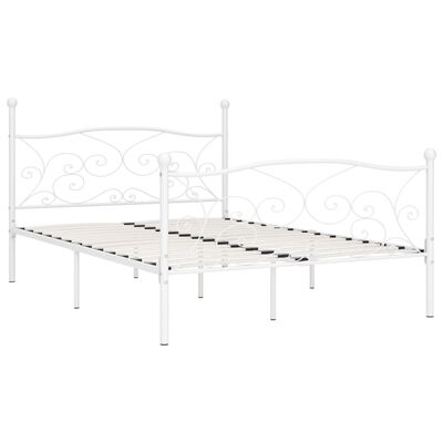 vidaXL Bed Frame with Slatted Base White Metal 140x200 cm