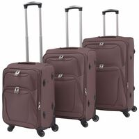 vidaXL 3 Piece Soft Case Trolley Set Coffee