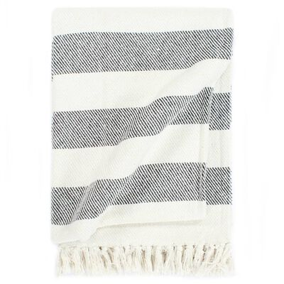 vidaXL Throw Cotton Stripe 160x210 cm Anthracite