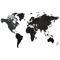 MiMi Innovations Wooden World Map Wall Decoration Giant Black 280x170 cm