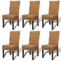 vidaXL Dining Chairs 6 pcs Abaca and Solid Mango Wood