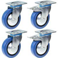"""125mm 5"""" castor blue rubber swivel & brake strong 800kg capacity, set"""