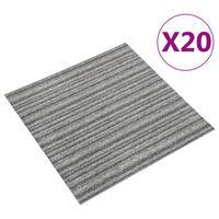 vidaXL Carpet Floor Tiles 20 pcs 5 m² 50x50 cm Striped Grey