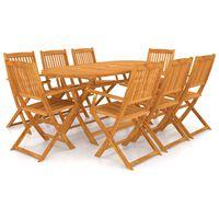 vidaXL 9 Piece Folding Outdoor Dining Set Solid Acacia Wood