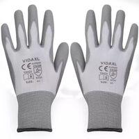 vidaXL Work Gloves PU 24 Pairs White and Grey Size 9/L
